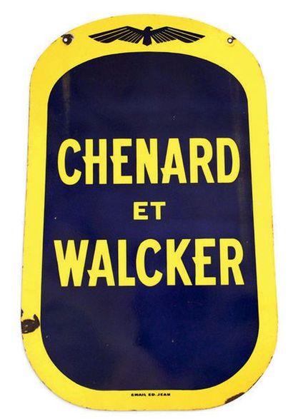 CHENARD ET WALCKER Plaque en tôle émaillée double face Email ED Jean Bon état, éclats...