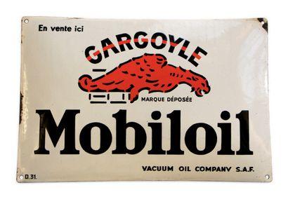 MOBILOIL Plaque en tôle émaillée et bombée D.31 Bon état, éclats en bordure Dim:...