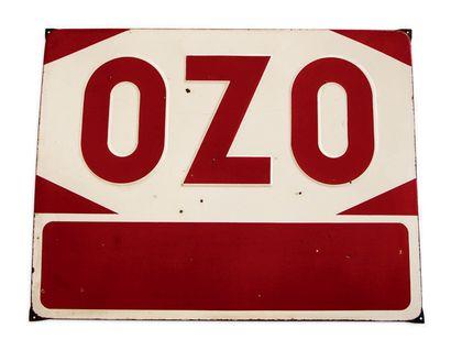 OZO Plaque en tôle émaillée Bon état, éclats, corrosion Dim: 70 X 90 cm environ