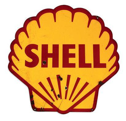 Shell Plaque en tôle émaillée double face Bon état, éclats, fissures Dim: 99 X 98...