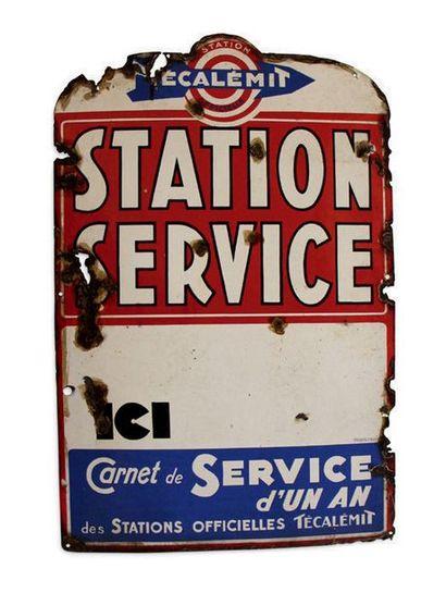 TECALEMIT Lot de 2 plaques en tôle émaillée Etat moyen, corrosion et restaurations...