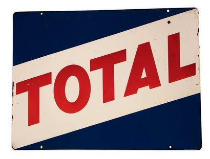 TOTAL Plaque en tôle émaillée double face Emaillerie de Montreuil 3.61 Bon état,...
