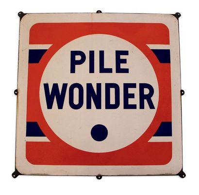 PILE Lot de 2 plaques en tôle émaillée: - Pile Wonder: Emaillerie Alsacienne, 96...