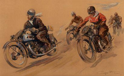 Géo HAM (Georges Hamel) 1900-1972 Course de motards Lithographie, signée en bas à...