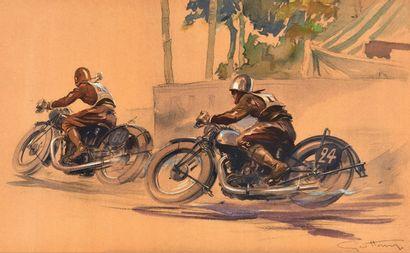 Géo HAM (Georges Hamel) 1900-1972 Deux motards en course Lithographie signée en bas...