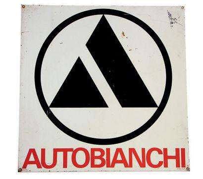 AUTOBIANCHI Plaque en tôle émaillée Email Laborde Très bon état, éclats Dim: 60 X...