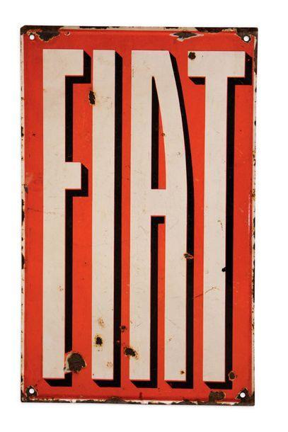 FIAT Plaque en tôle émaillée double face Etat d'usage Dim: 80 X 50 cm environ