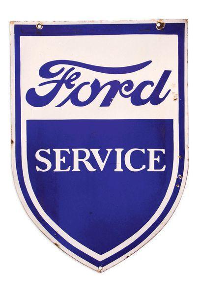 Ford Plaque en tôle émaillée double face Bon état, éclats Dim: 85 X 60 cm enviro...