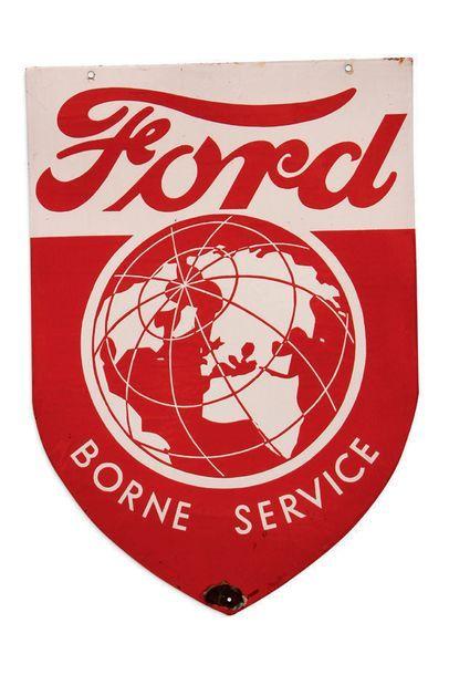 Ford Borne service Plaque en tôle émaillée double face Emaillerie Alsacienne Strasbourg...