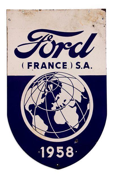 Ford France SA 1958 Plaque en tôle émaillée double face Bon état, éclats et tâches...