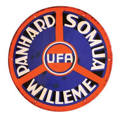 PANHARD Somua Willeme UFA Plaque en tôle émaillée Etat d'usage, restaurations Diam:...