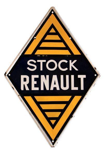 RENAULT Plaque en tôle émaillée double face Etat d'usage, éclats Dim: 115 X 78 cm...