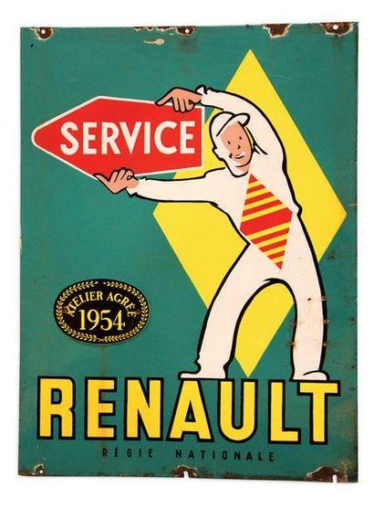 RENAULT Atelier agréé 1954 Plaque en tôle émaillée double face Bon état, éclats Dim:...