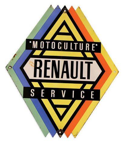RENAULT Motoculture service Plaque en tôle émaillée double face Bon état Dim: 90...