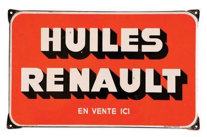 HUILES RENAULT Lot de 2 plaques en tôle émaillée Etat d'usage Dim: 30 X 48 et 96...