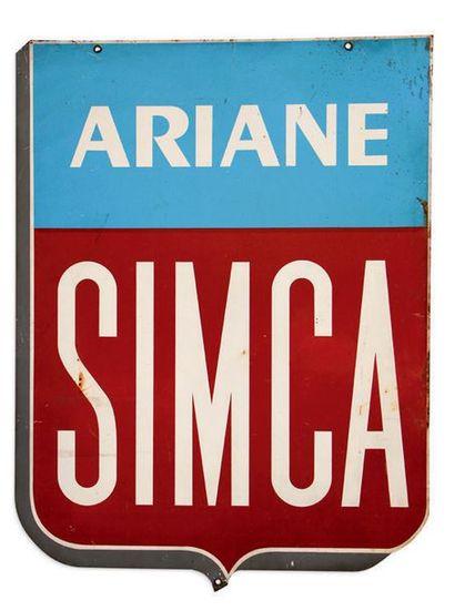 SIMCA Lot de 3 tôles peintes double face Ariane, Aronde, Vedette Etat d'usage Dim:...