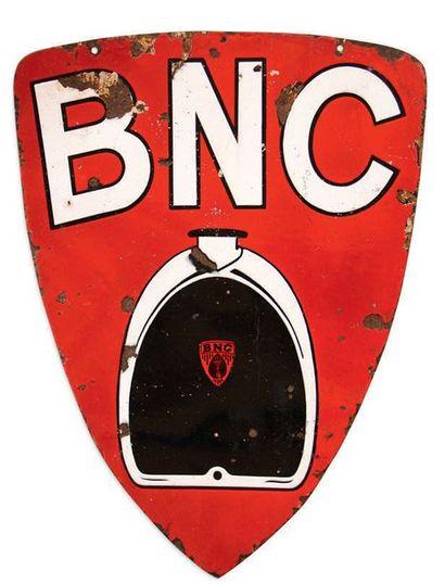 BNC Plaque en tôle émaillée double face Etat moyen, éclats et restaurations Dim:...
