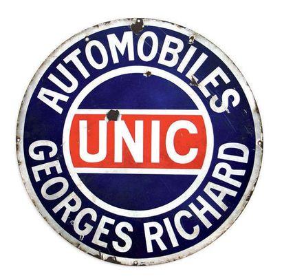 UNIC Automobiles Georges Richard Plaque en tôle émaillée Email ED Jean Etat moyen,...