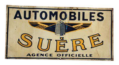 AVANT GUERRE Lot de 3 tôles peintes: - Automobiles La Licorne (double face) Chagon...