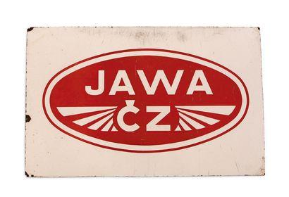 JAWA Plaque en tole émaillée Etat d'usage Dim: 51 X 81 cm environ On joint une tôle...
