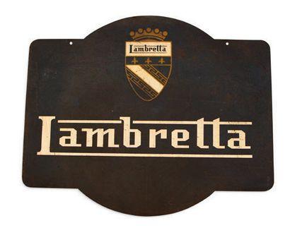 LAMBRETTA Plaque en tôle émaillée double face Vitracier Neuhaus Très bon état, éclats...