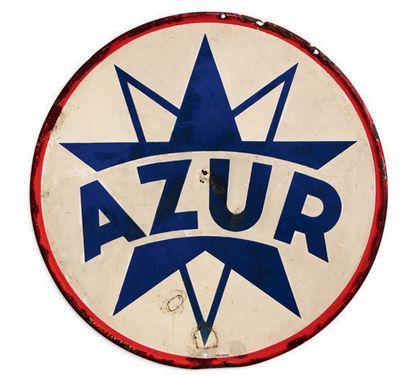 AZUR Lot de 2 plaques en tôle émaillée - Azur: éclats, trous/restaurations, Emaillerie...
