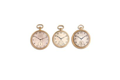 LOT de 3 montres de poche en or 18K. Vers...