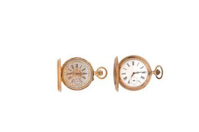 LOT de 2 montres de poche savonnette en or...