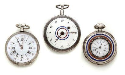 LOT de 3 montres de poche en argent avec...