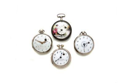 LOT de 4 montres à coq en argent dont une...