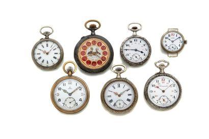 LOT de 7 montres de poche diverses évocation...
