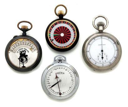 LOT de 4 montres de poches Début 20e. Compteur...