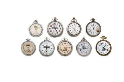 LOT de 9 montres de poche des chemins de...