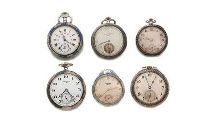 LOT de 6 montres de poche fin XIXe dont émail...