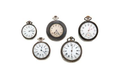LOT de 5 montres de poche en argent et m...