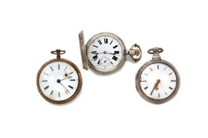 LOT de 3 montres de poche. 2 montres à coq...