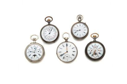 LOT de 5 montres de poche dont 2 montres...
