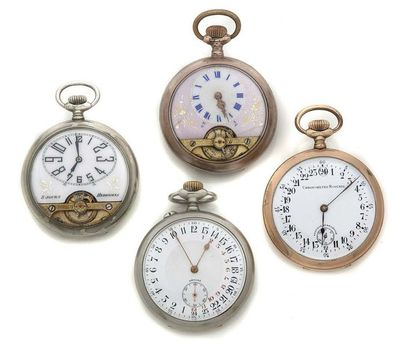 LOT de 4 montres de poche en métal 2 HEBDOMAS...