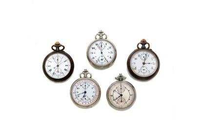 LOT de 5 chronographes de poche fin 19e....