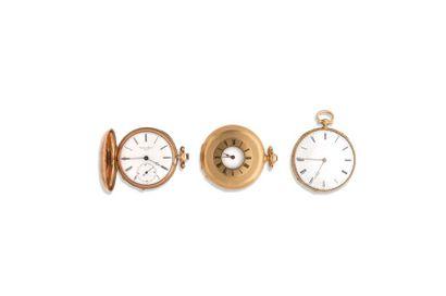 LOT de 3 montres de poche en or 18K Poids...