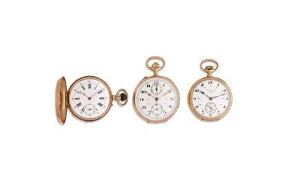 LOT de 3 montres de poche Fin 19e. Or 18K....