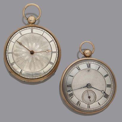 LOT DE 2 montres de poche milieu 19e en or...