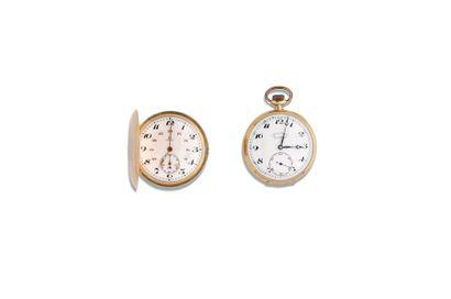 LOT de 2 montres de poche fin 19e en or 18K...