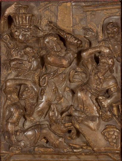 PLAQUE en albâtre sculpté en bas-relief avec...