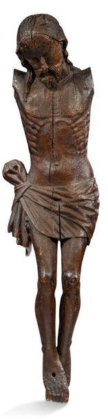 CHRIST en chêne sculpté, tête inclinée sur...
