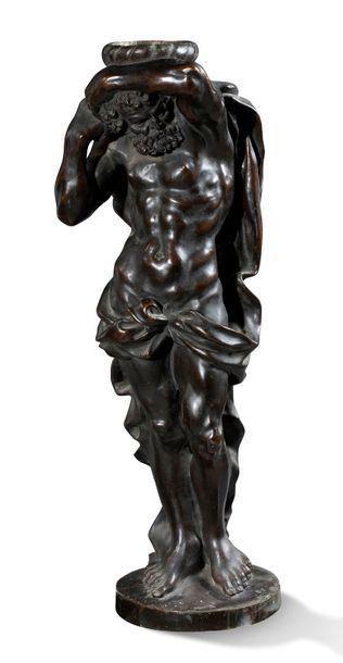 ATLAS en bronze à patine brune Fin du XIXe...
