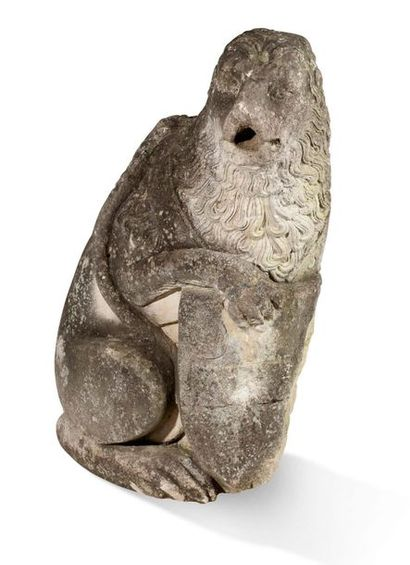 LION porte écu en pierre calcaire sculptée...