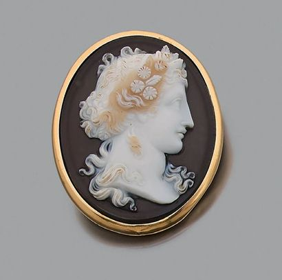 """Broche """"camée"""" Agate, or 18k (750). H.: 4.4cm - Pb.: 18.8gr An agate and gold cameo..."""