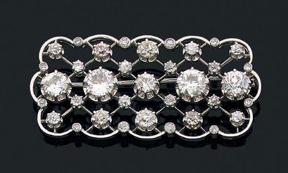 """Broche """"diamants"""" Diamants de taille ancienne, platine (850) et or 18K (750). Poids..."""