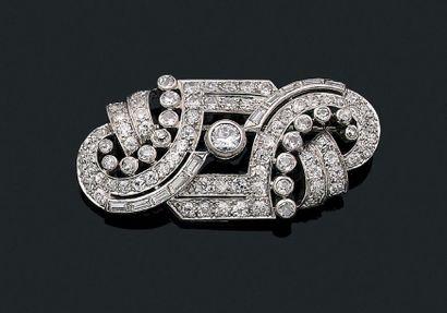 """Broche """"diamants"""" Diamants ronds, de taille ancienne et baguette, or 18k (750) et..."""